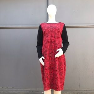 Nicole by Nicole Miller Red and Black Zebra Dress